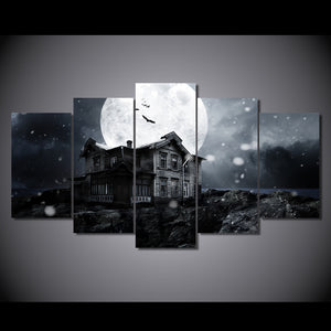 Halloween spooky haunted house full moon bats wall art canvas print - ASH Wall Decor - Wall Art Canvas Panel Print Painting