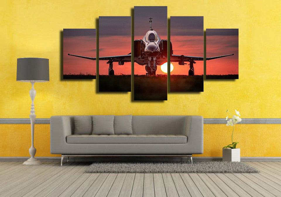 Sunset plane military jet wall art on canvas print panel picture ...