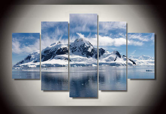 Snow Mountain Winter Scene View 5 piece wall art on canvas - ASH Wall Decor - Wall Art Canvas Panel Print Painting