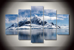 Snow Mountain Winter Scene View 5 piece wall art on canvas : cheap canvas prints wall paintings pictures
