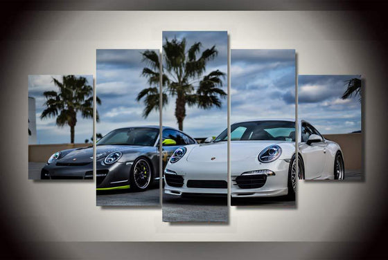 Grey and white Porsche 5 panel wall art on canvas - ASH Wall Decor - Wall Art Picture Painting Canvas Living Room