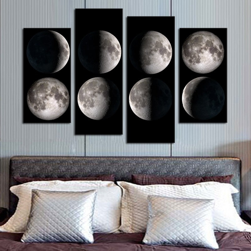4 Panel Phases of Moon Wall Art Canvas Panel Print Black White ...