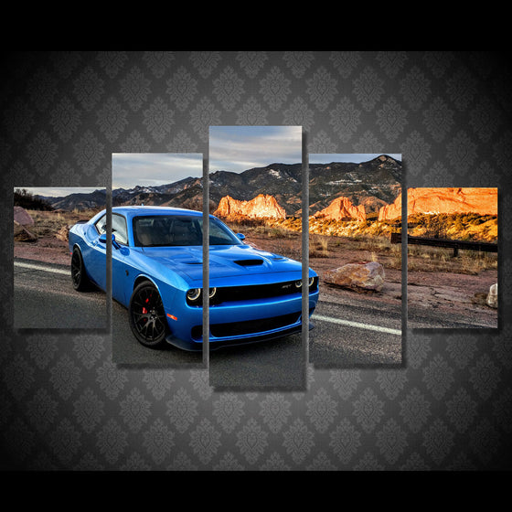 B5 Blue Dodge Challenger R/T SRT  Hellcat Wall Art on Canvas - ASH Wall Decor - Wall Art Picture Painting Canvas Living Room