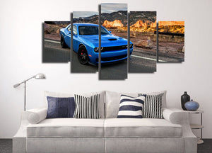 B5 Blue Dodge Challenger R/T SRT  Hellcat Wall Art on Canvas : cheap canvas prints wall paintings pictures