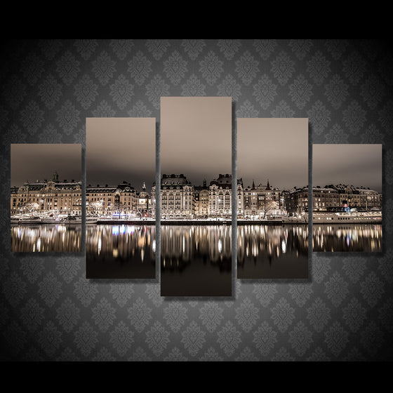 Stockholm Night Painting 5 piece canvas wall art - ASH Wall Decor - Wall Art Picture Painting Canvas Living Room