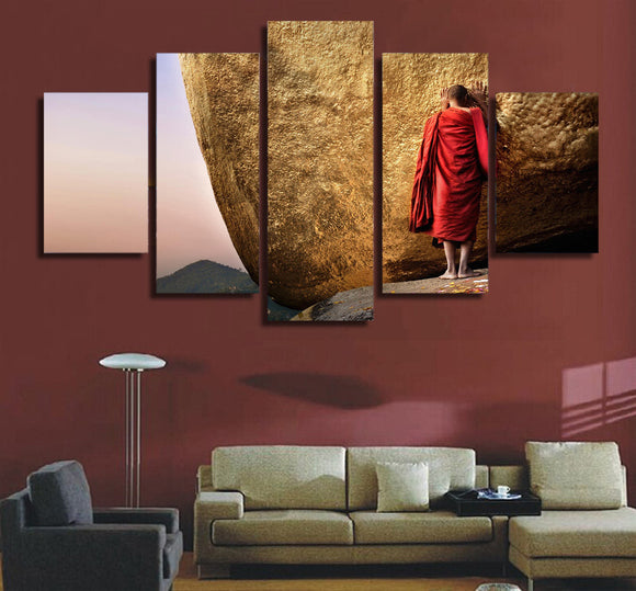 Monk standing at rock wall art on canvas picture poster - ASH Wall Decor - Wall Art Canvas Panel Print Painting
