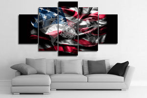5 Pcs canvas wall art Print National US United States waving flag military : cheap canvas prints wall paintings pictures
