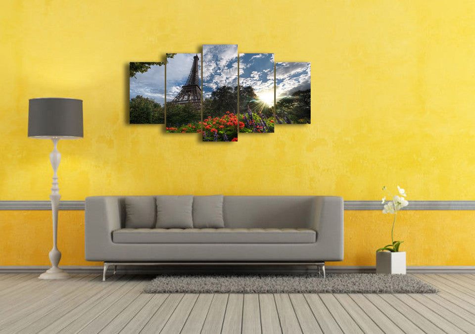 5 Panel Pieces Paris France Eiffel Tower with flowers summer canvas ...
