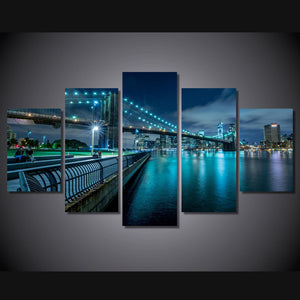5 Panel New York City bridge at evening  picture canvas panel print poster : cheap canvas prints wall paintings pictures