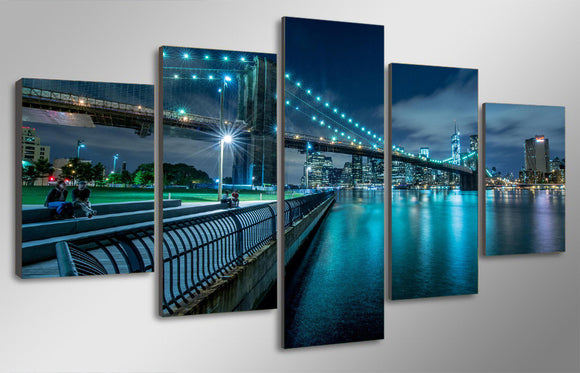 New York City bridge at evening  picture canvas - ASH Wall Decor - Wall Art Picture Painting Canvas Living Room
