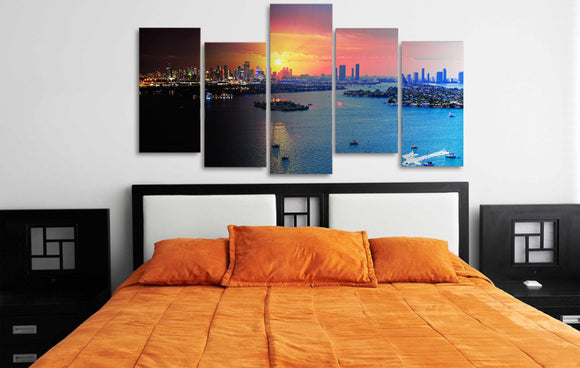 Miami Florida Cityscape Sunset 5 piece panel wall art print - ASH Wall Decor - Wall Art Picture Painting Canvas Living Room