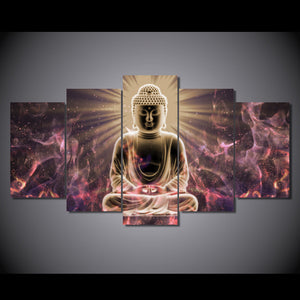Buddha art wall art on canvas - 5 pcs panel wall art picture canvas print : cheap canvas prints wall paintings pictures