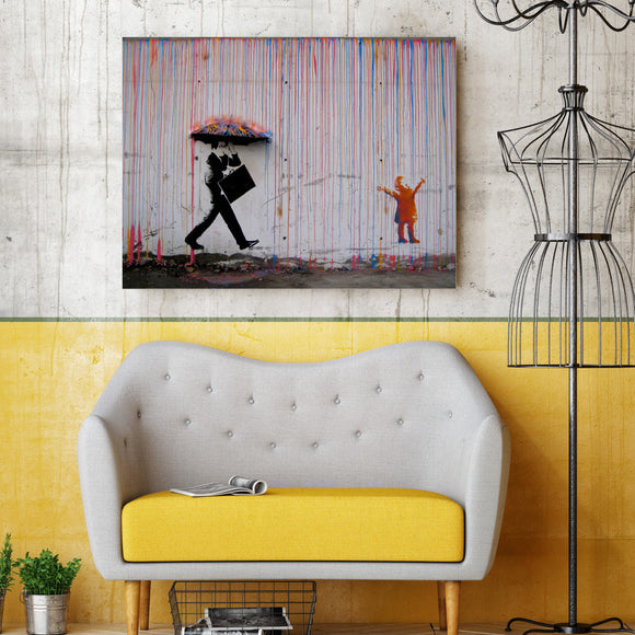 1 piece canvas art Banksy Graffiti Art Painting Umbrella - ASH Wall Decor - Wall Art Canvas Panel Print Painting