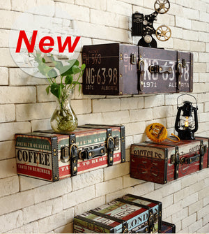 Vintage Retro Leather Painted Luggage Suitcase Box Wall  Decor Shelve Shelving : cheap canvas prints wall paintings pictures