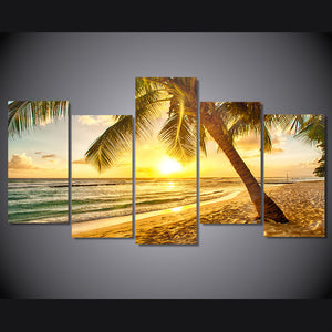 Palm Tree at Sunset on Ocean Gulf Beach - 5 pieces panesl wall pictures print : cheap canvas prints wall paintings pictures