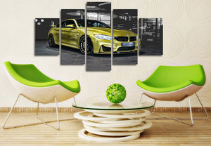 BMW sports car 5 piece panel print picture wall art canvas print : cheap canvas prints wall paintings pictures