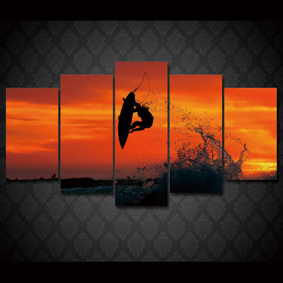 Extreme Surfing at Sunset Surf Board Sky Air Wave Wall Art on Canvas - ASH Wall Decor - Wall Art Picture Painting Canvas Living Room