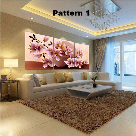 Beautiful Vivid 3 piece Floral Flower - Multiple floral and size choices - ASH Wall Decor - Wall Art Picture Painting Canvas Living Room