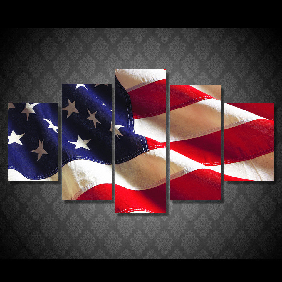 hd printed 5 piece canvas art american flag usa print wall pictures