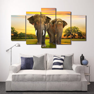 African Elephants at Sunset Wall Art on Canvas 5 piece print : cheap canvas prints wall paintings pictures