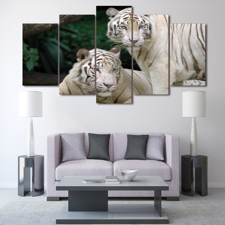 White Tigers 5 panel printed wall art on canvas Framed UNframed ...