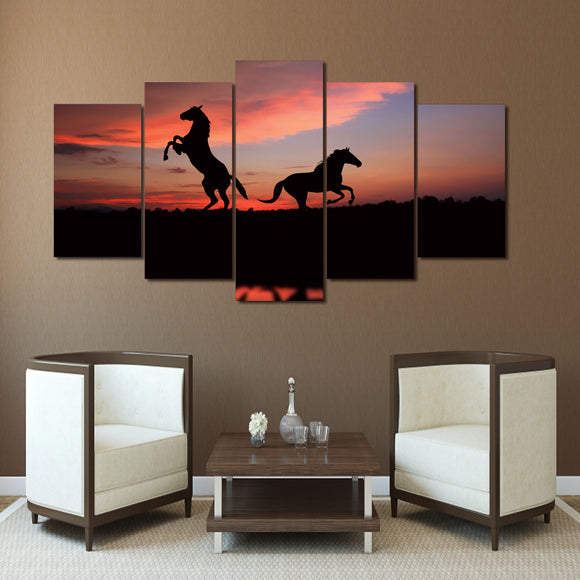 Galloping Horses at Sunset  Panel Wall Art on Canvas Wall Decor Print Framed Unframed - ASH Wall Decor - Wall Art Picture Painting Canvas Living Room