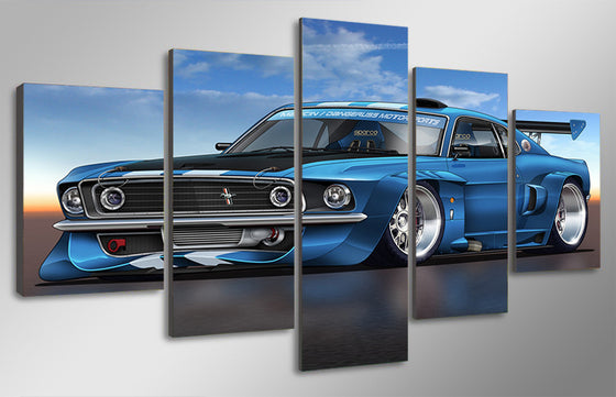 1969 mustang GT Boss fastback with spoiler room decoration print - ASH Wall Decor - Wall Art Picture Painting Canvas Living Room