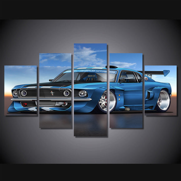 1969 mustang GT Boss fastback with spoiler room decoration print - ASH Wall Decor - Wall Art Canvas Panel Print Painting