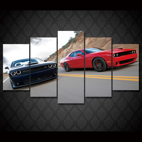 Dodge Challenger Red Black Road SRT R/T - ASH Wall Decor - Wall Art Picture Painting Canvas Living Room