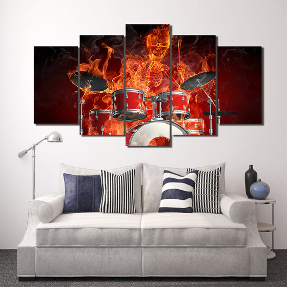 5 piece Canvas Art Flaming Skeleton Drummer Skull Drums Fire - ASH Wall Decor - Wall Art Picture Painting Canvas Living Room