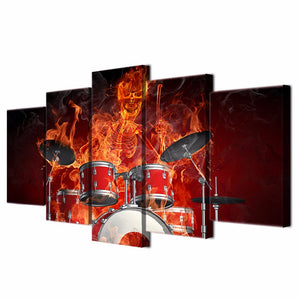 5 piece Canvas Art Flaming Skeleton Drummer Skull Drums Fire : cheap canvas prints wall paintings pictures