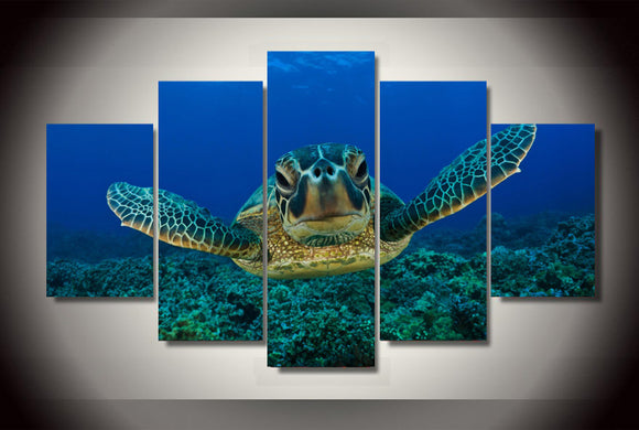 Deep Sea Turtle Wall Aquarium Art Picture Modern Home Wall Decor Print - ASH Wall Decor - Wall Art Picture Painting Canvas Living Room