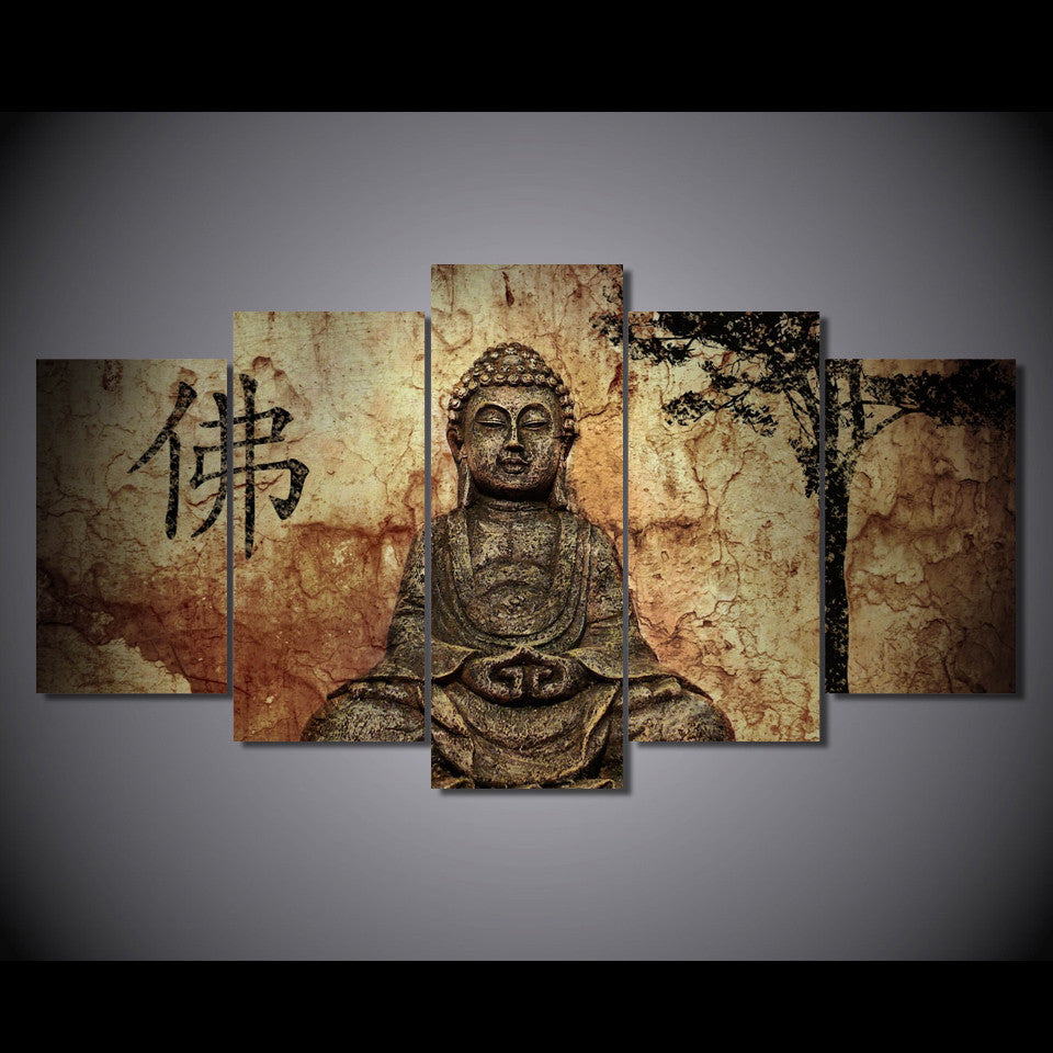 5 piece canvas art Buddha - ASH Wall Decor