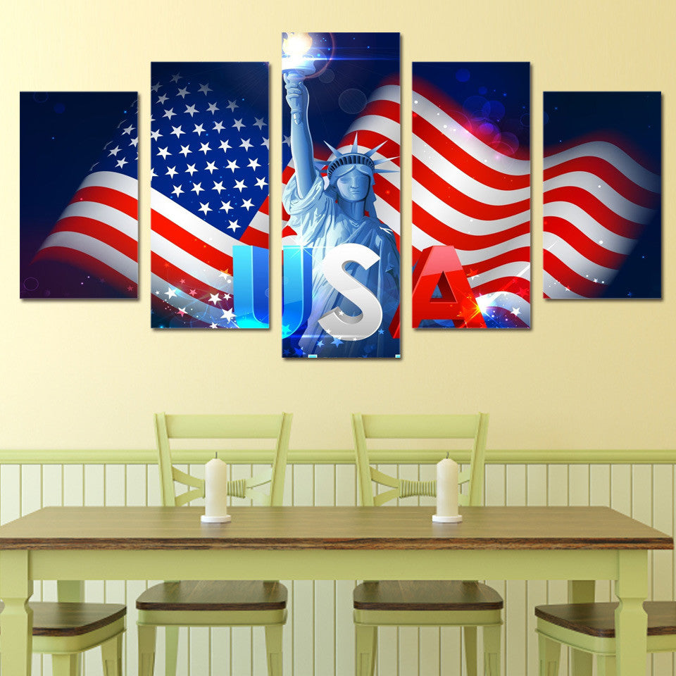 USA flag with Statue of Liberty HD print 5 piece panel canvas wall ...