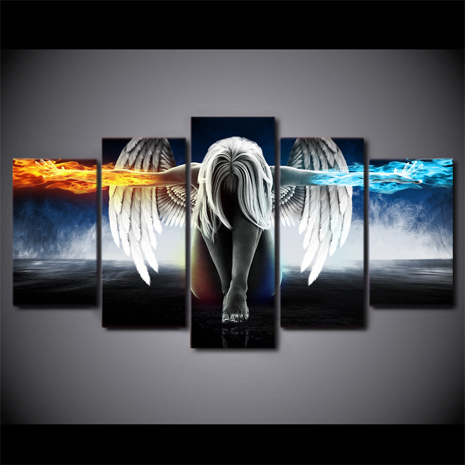 5 piece canvas art angel with wings fire - ASH Wall Decor