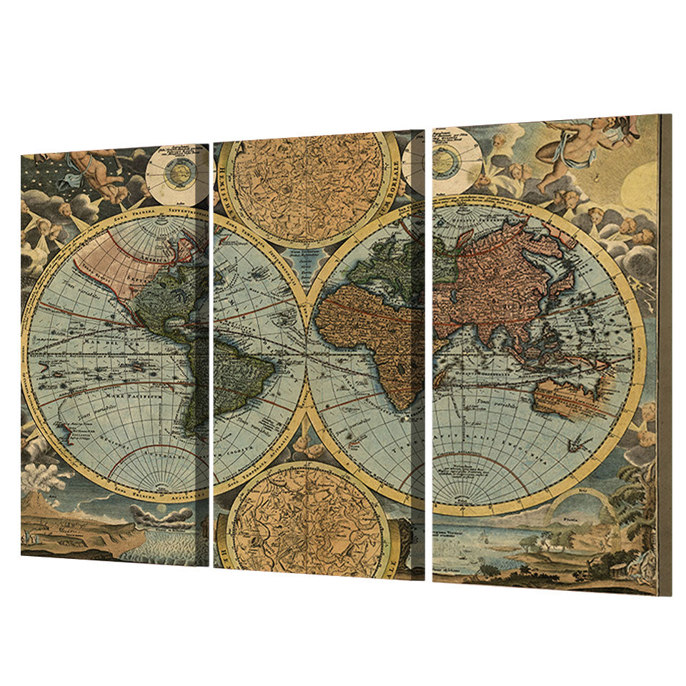 Vintage world map room 3 panel wall art decor print poster picture vintage world map room decor print poster picture canvas framed unframed ash wall decor gumiabroncs Choice Image