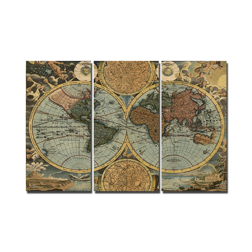 Vintage world map room 3 panel wall art decor print poster picture vintage world map room decor print poster picture canvas framed unframed ash wall decor gumiabroncs Images