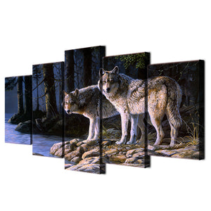 5 panel canvas wall art print wild animal two wolves at night by water : cheap canvas prints wall paintings pictures