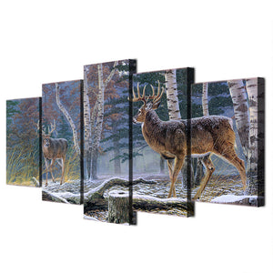 5 Pcs Forest Trees with two antelope deer Canvas 5 Panel Wall Art Picture Print : cheap canvas prints wall paintings pictures