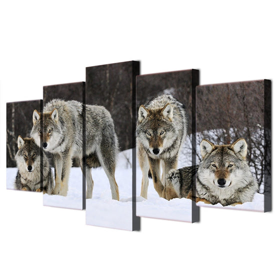 Wild pack of wolves in snow - 5 piece wall art - ASH Wall Decor - Wall Art Canvas Panel Print Painting