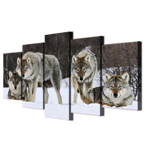 Wild pack of wolves in snow - 5 piece wall art : cheap canvas prints wall paintings pictures