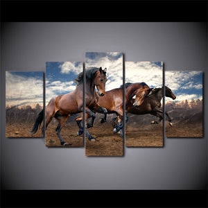 3 running horses 5 pcs  picture Wall Art on Canvas Panel Picture Print : cheap canvas prints wall paintings pictures
