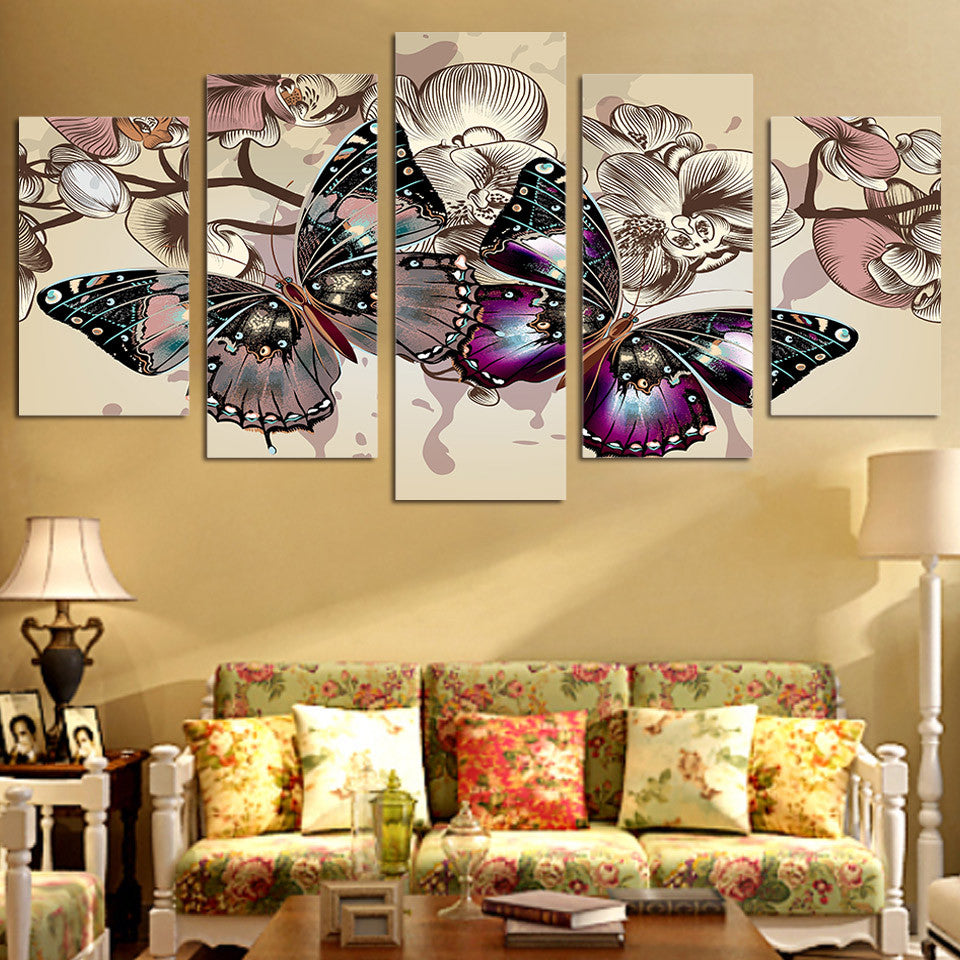 5 piece canvas art flower butterfly canvas print - ASH Wall Decor