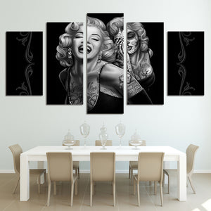 Marilyn Monroe smile 5 piece printed wall art canvas - ASH Wall Decor - Wall Art Canvas Panel Print Painting
