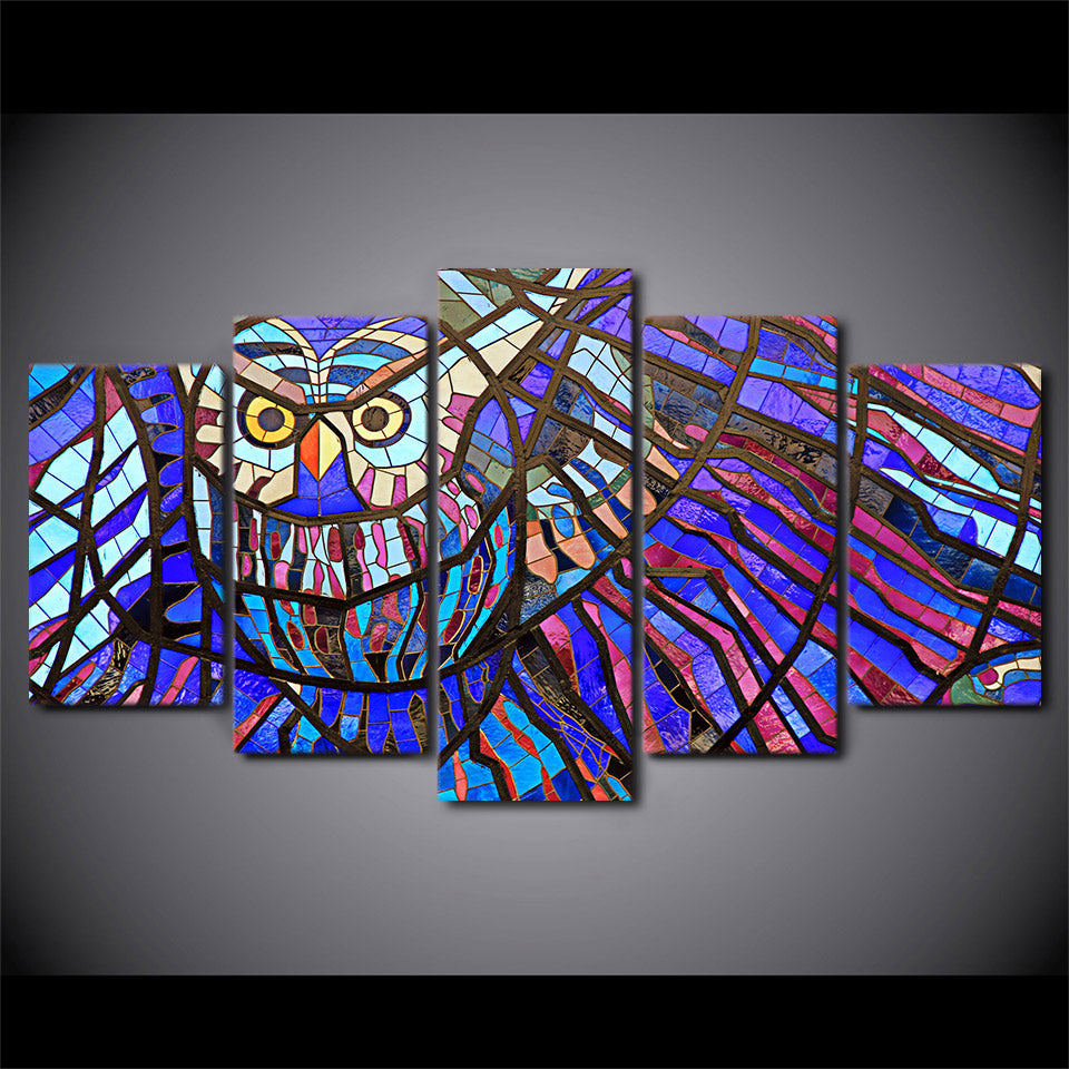 ... Abstract Owl Stained Glass Wall Art Panel Canvas Print Poster Framed  UNframed   ASH Wall Decor ...