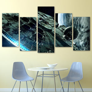 Star Wars Millennium Falcon Canvas 5 Panel Wall Art Print poster Framed UNframed : cheap canvas prints wall paintings pictures
