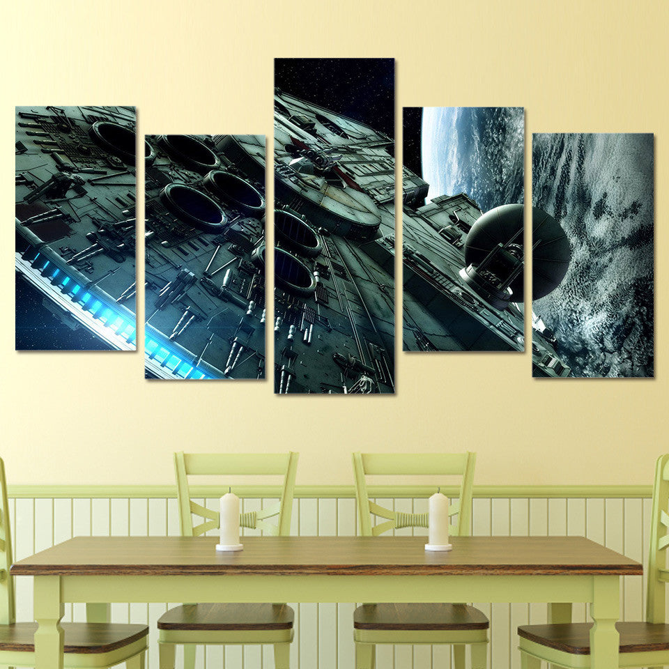 Star Wars Millennium Falcon Canvas 5 Panel Wall Art Print poster ...