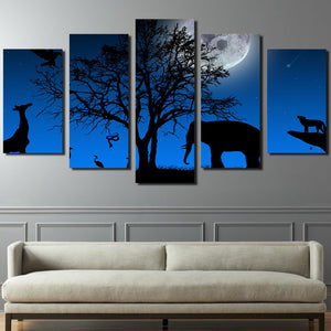 5 Pcs Peyzazh Derevo Vetki Krona Elephant Giraffe  Wall Decor Panel Canvas Print : cheap canvas prints wall paintings pictures