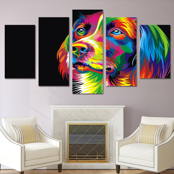 Abstract Dog Wall 5 piece wall art - ASH Wall Decor - Wall Art Picture Painting Canvas Living Room