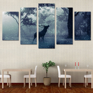Winter Scene Snow animal deer forest Wall Art Print Canvas Panel Print Picture : cheap canvas prints wall paintings pictures